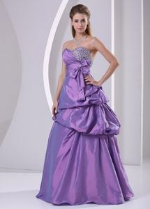 Purple Sweetheart Floor-length Prom Outfits with Beading and Bowknot