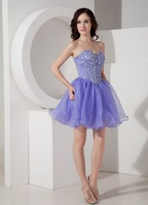 Beaded Lilac Mini-length Prom Gown Dresses with Sweetheart in Ivanhoe