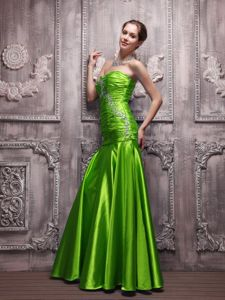 Green Ruched and Beaded Sweetheart Prom Gown Dress with Lace Up Back