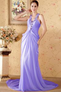 Elegant Purple Beaded Halter Prom Gown Dress with Chapel Train in Elgin