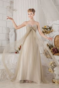 Brown Empire Sweetheart Brush Prom Dress with Beading and Ruche