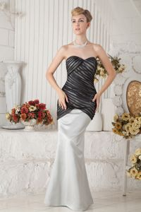 Mermaid Sweetheart Ruches Black and Ivory Prom Gown in Christchurch