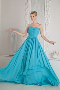 Sweetheart A-line Ruches Baby Blue Prom Dresses in Napier-Hastings