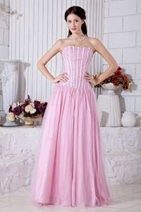 Beading Strapless Tulle Baby Pink Prom Dress in Palmerston North