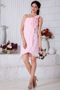 Hand Made Flowers Pink One Shoulder Senior Prom Dresses in Nelson