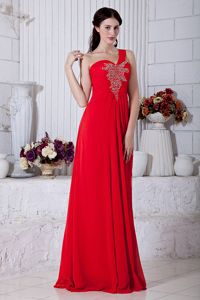 Red One Shoulder Beading Dresses For Prom Court in New Plymouth