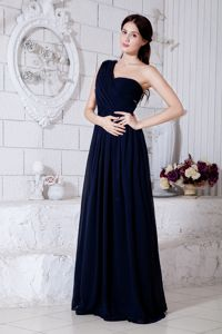 Navy Blue One Shoulder Beaded Ruched Prom Court Dresses in Whangarei