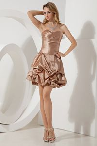 Sweetheart Brown A-line Ruches Mini-length Prom Dresses in Belfast