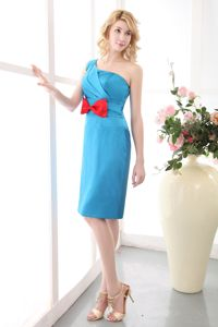 One Shoulder Column Bow Mini-length Sky Blue Dress For Prom Queen