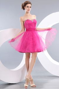 Lovely Pink A-line Sweetheart Beaded Short Prom Dress in New Plymouth
