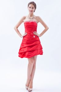 Red A-line Strapless Mini-length Beading Dresses For Prom Court in Addo