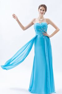 Sweetheart Beaded Aqua Column Dresses For Prom Princess with Brush