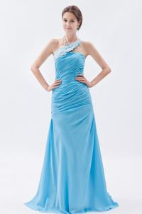Baby Blue Mermaid One Shoulder Dress for Prom with Beading and Brush