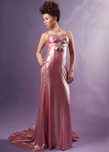 Spaghetti Straps Beaded Light Pink Prom Dress in Belfast with Watteau