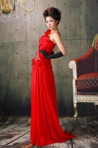 One Shoulder with Brush Red Prom Dresses Beading and Flowers Accent