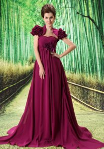 Custom Made Fuchsia Flower and Ruche Accent Dresses For Prom Court