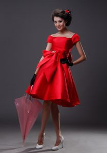 Bowknot with Beading Florid Red Off The Shoulder 2013 Dresses For Prom