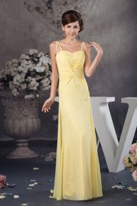 Pleats Light Yellow Dress For Prom Queen in Durban with Spaghetti Straps