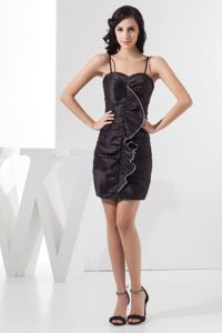 Spaghetti Straps for Black Ruched Mini-length Prom Dress in Edenvale