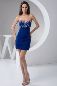 Beading and Ruches Accent Royal Blue 2013 Mini Dresses For Prom in George