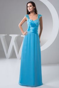 Column Style for Straps Blue Prom Gowns in Gillitts with Ruches and Beading