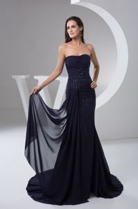 Chiffon Navy Blue Prom Gown in Gordons Bay Ruche and Beading Decorate
