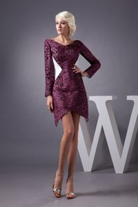 Burgundy Short Prom Dress in Graaff-Reinet with V-neck and Long Sleeves