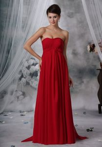 Red Empire Strapless Ruched Prom Dress in Gravelotte Watteau Train