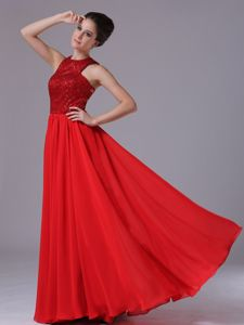 2013 Paillette Over High-Neck Red Dress For Prom Queen in Henley on Klip