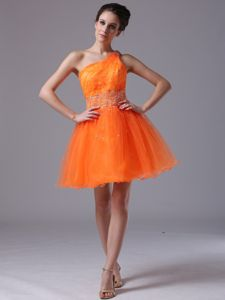 Orange Beading Decorate One Shoulder Mini-length Prom Gowns for Party