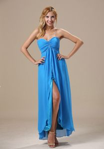 Beading and Ruche Accent Slit Ankle-length Dodger Blue Junior Prom Dress