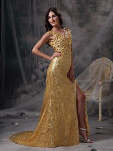V-neck Beading and Ruche for Gold Dresses For Prom Princess Sequins Over