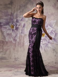 Mermaid Lace Sashes Brush Eggplant Purple and Black Dress For Prom Queen