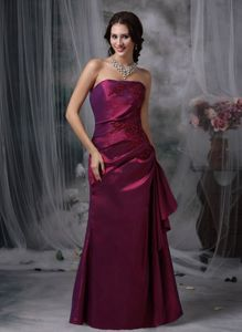 Purple Elegant Column Strapless Appliques Accent Prom Gowns in Kimberley