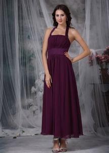 Ankle-length with Ruche for Burgundy Prom Gown with Halter Top Design