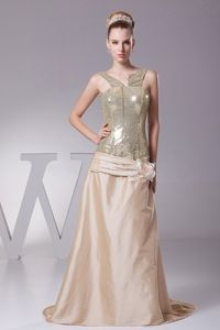 Handle Flower Decorated Sequin in Champagne Prom Dress Attached Brush