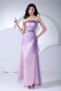 Pink Ankle-length Prom Dress with Silver Sash Made in Taffeta and Tulle