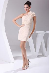 Handle Flower and Ruching Champagne 2013 Prom Dress to Mini-length