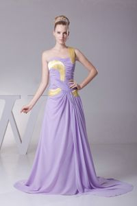 One Shoulder for Lilac and Gold Prom Dress Made in Chiffon and Brush Train