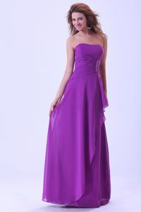 Mississippi Strapless Dresses for Prom Court in Purple Made in Chiffon