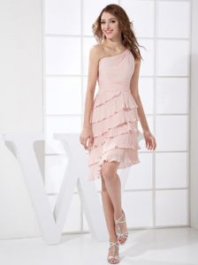 One Shoulder Pleating and Handle Flowers Prom Dresses in Light Pink