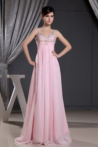 Straps and Beaded Decorated Bust for Cheap Prom Dress in Baby Pink