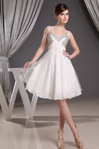 Beading Decorated Straps and Bust for Short Prom Dress in White 2013