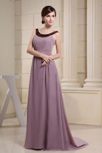 Scoop Prom Dresses in Light Purple Attached Brush Train in Wood Buffalo