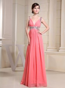 Maple Ridge V-neck and Beading Straps for Watermelon Red Prom Dress