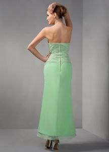 Apple Green Column Appliques Dress for Prom Queen to Ankle-length