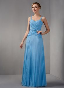 Teal Spaghetti Straps Appliques Decorated Dress for Prom in Column