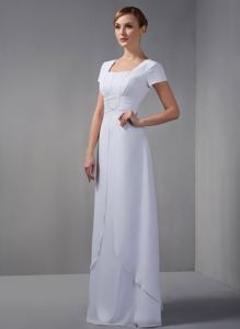 White Square Neckline for Floor-length Beading Dresses for Prom Court