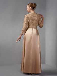 Champagne Column Straps Appliques Prom Court Dresses with Jacket