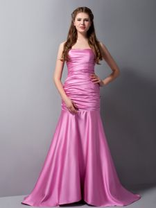 Rose Pink Ruche Dress for Prom Queen Attached Brush Train in Mermaid